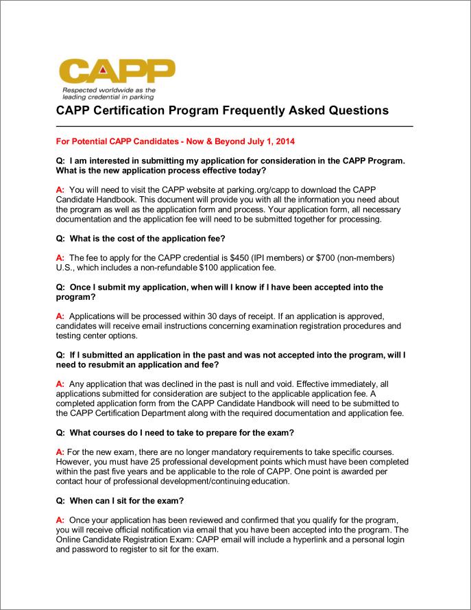 CAPP Certification Program Candidate FAQs - Parking