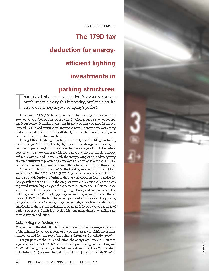 The 179D tax deduction for energy- efficient lighting investments in ...