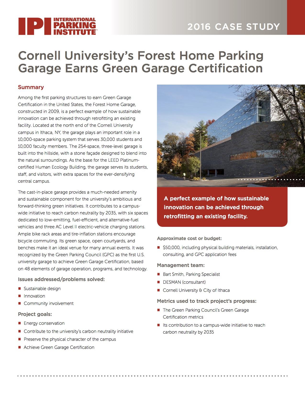 Cornell Universitys Forest Home Parking Garage Earns Green Garage