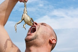 Man holding a frog over his open mouth