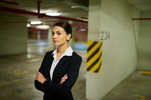 Businesswoman in underground car park