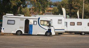 RV Camping. Three recreational vehicles.